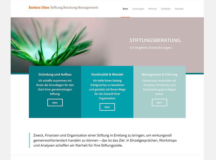 Abbildung Screendesign Website mit WordPress für Stiftungsberaterin